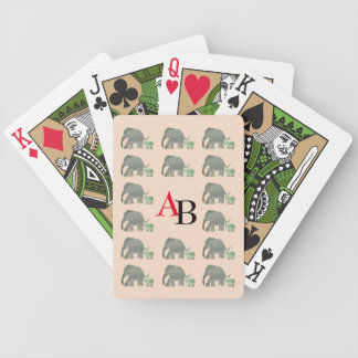 Black and Red Monogram with Elephant Pattern Bicycle Playing Cards
