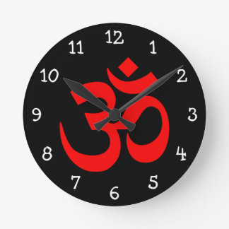Black and Red Om Symbol Round Clock