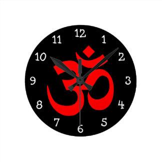 Black and Red Om Symbol Wallclocks