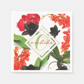 Black and Red Orchids Art Watercolor Monogram Disposable Napkins