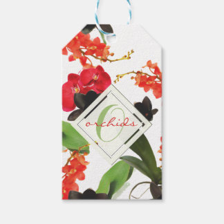 Black and Red Orchids Art Watercolor Monogram Gift Tags