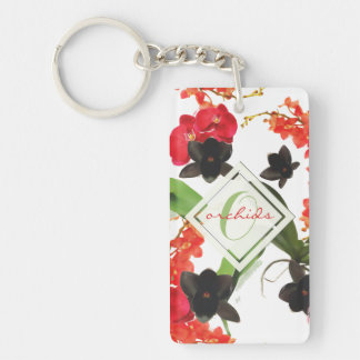 Black and Red Orchids Art Watercolor Monogram Key Ring
