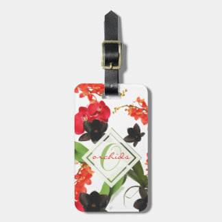 Black and Red Orchids Art Watercolor Monogram Luggage Tag