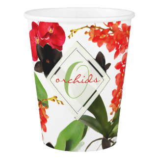 Black and Red Orchids Art Watercolor Monogram Paper Cup