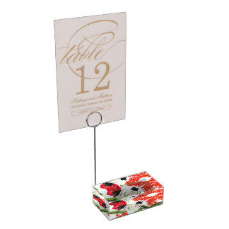 Black and Red Orchids Art Watercolor Monogram Place Card Holder