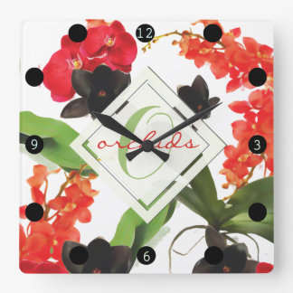 Black and Red Orchids Art Watercolor Monogram Square Wall Clock