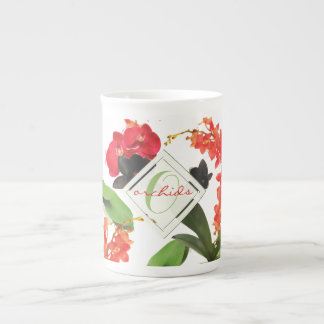 Black and Red Orchids Art Watercolor Monogram Tea Cup