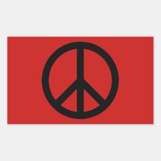 Black and Red Peace Symbol Rectangular Sticker