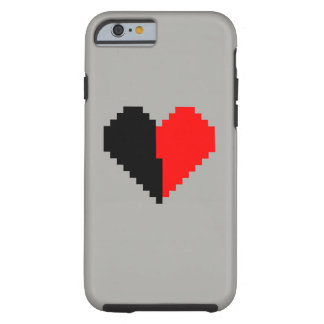 Black and red pixel heart phone case