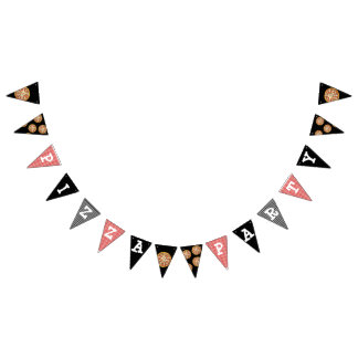 Black and Red Pizza Party Birthday Flag Banner
