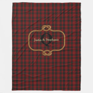 Black and Red Plaid Custom Fleece Blanket