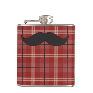 Black and Red Plaid Moustache Hip Flask