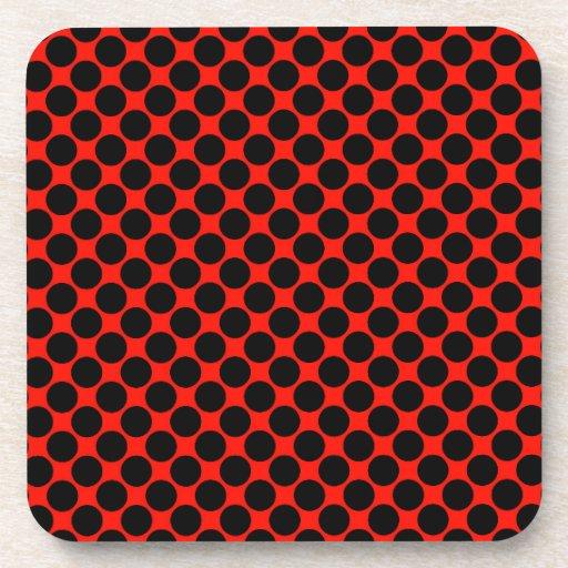 Black and Red Polka Dots Coaster