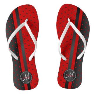 Black and Red Polka Dots - Monogram Thongs