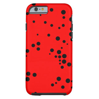 Black and Red Polka Dots Pattern Tough iPhone 6 Case
