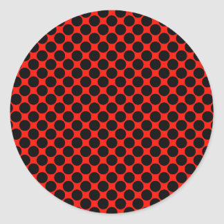 Black and Red Polka Dots Round Sticker