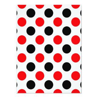 Black and Red Polkadots Pattern 14 Cm X 19 Cm Invitation Card