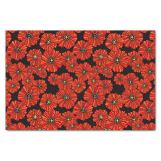 Black and red poppies tissue paper gift wrap