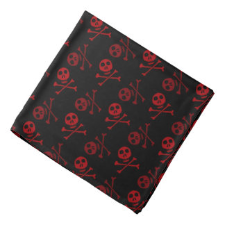 Black and Red Skull Pattern Bandana