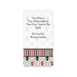 Black And Red Skulls Pattern With Border Label