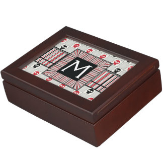 Black And Red Skulls Pattern With Initial Memory Boxes