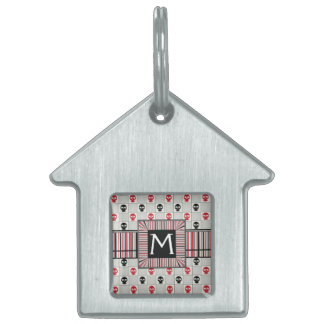 Black And Red Skulls Pattern With Initial Pet ID Tag