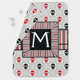 Black And Red Skulls Pattern With Initial Swaddle Blankets