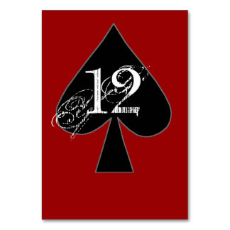 Black and Red Spades Custom Table Number