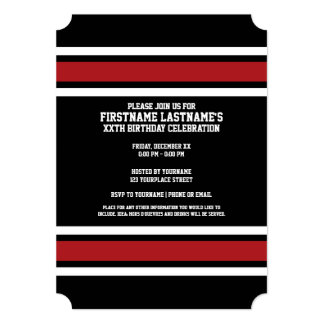 Black and Red Sports Jersey Custom Name Number 13 Cm X 18 Cm Invitation Card