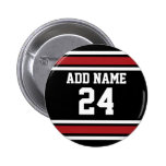 Black and Red Sports Jersey Custom Name Number 6 Cm Round Badge