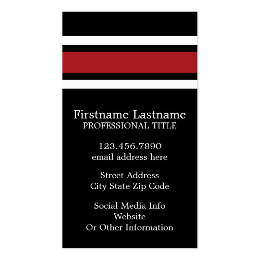 Black and Red Sports Jersey Custom Name Number Business Card Templates