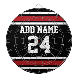 Black and Red Sports Jersey Custom Name Number Dartboards