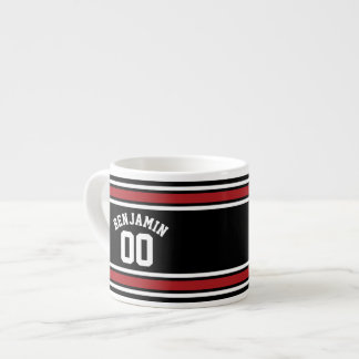 Black and Red Sports Jersey Custom Name Number Espresso Mug