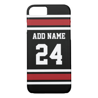 Black and Red Sports Jersey Custom Name Number iPhone 7 Case