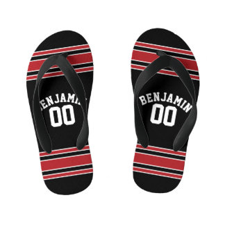Black and Red Sports Jersey Custom Name Number Kid's Thongs