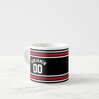 Black and Red Sports Jersey Custom Name Number Espresso Mug