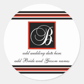 Black And Red Stripe Monogram B Reminder Stickers