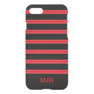 Black and Red Striped Monogram iPhone 8/7 Case