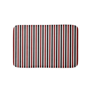 Black and red striped pattern modern bath mat