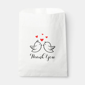 Black And Red Thank You Lovebirds  Wedding Party Favour Bag