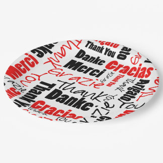 Black and Red Thank You Word Cloud 9 Inch Paper Plate