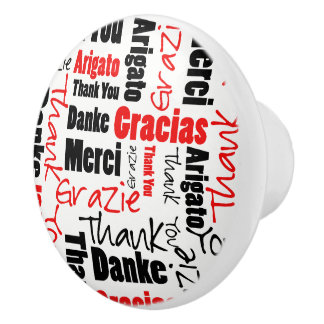 Black and Red Thank You Word Cloud Ceramic Knob