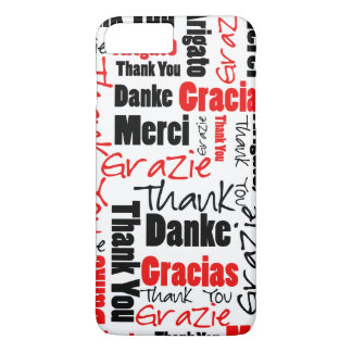 Black and Red Thank You Word Cloud iPhone 7 Plus Case