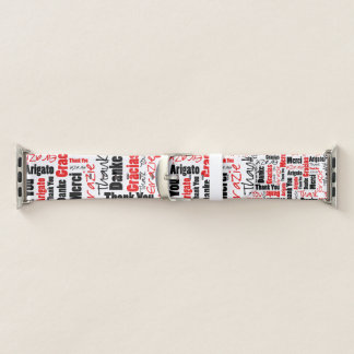 Black and Red THANK YOU Word Collage Apple Watch Band