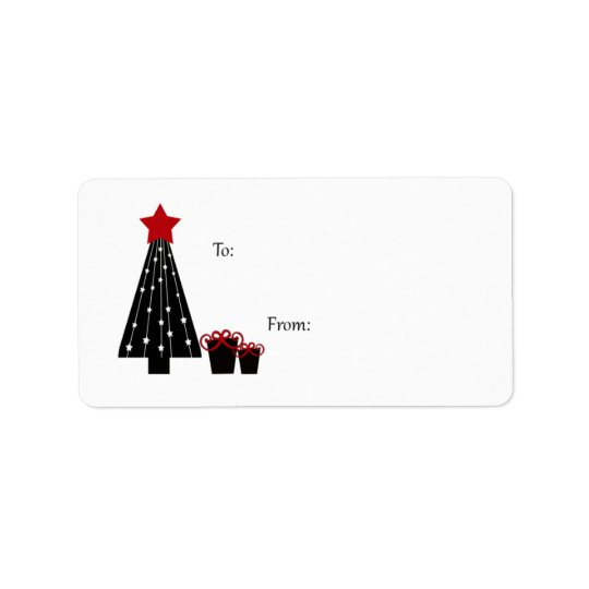 Black and Red Tree and Packages Gift Tags