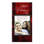 Black and red Valentine photo template Customised Photo Card