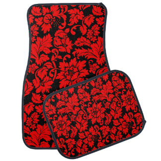 Black And Red Vintage Floral Damasks Car Mat