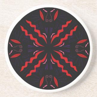 Black and red Vintage mandala Coaster