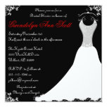 Black and Red Wedding Gown Bridal Shower 13 Cm X 13 Cm Square Invitation Card
