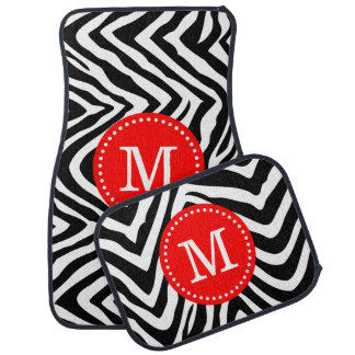 Black and Red Zebra Print Custom Monogram Floor Mat
